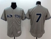 mens majestic new york yankees #7 mantle gray Flex Base jersey
