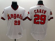 mens majestic los angeles angels #29 carew white Flex Base jersey