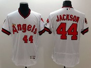 mens majestic los angeles angels #44 reggie jackson white Flex Base jersey