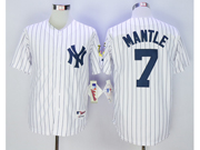 Mens Mlb New York Yankees #7 Mickey Mantle White Stripe Jersey