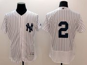 mens majestic new york yankees #2 derek jeter white stripe Flex Base jersey