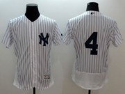 mens majestic new york yankees #4 gehrig white stripe Flex Base jersey