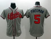 mens majestic atlanta braves #5 freeman gray Flex Base jersey