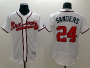 mens majestic atlanta braves #24 sanders white Flex Base jersey