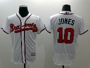 mens majestic atlanta braves #10 chipper jones white Flex Base jersey