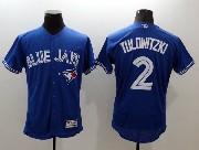 mens majestic toronto blue jays #2 troy tulowitzki blue Flex Base jersey
