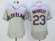 Mens Mlb Cleveland Indians #23 Michael Brantley Gray Flex Base Jersey