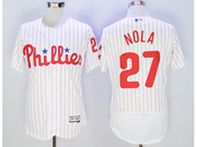 mens majestic philadelphia phillies #27 aaron nola white stripe Flex Base jersey