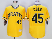 mens majestic pittsburgh pirates #45 gerrit cole gold Flex Base jersey