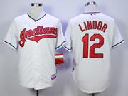 Mens Mlb Cleveland Indians #12 Francisco Lindor White Cool Base Jersey