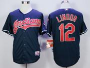 Mens Mlb Cleveland Indians #12 Francisco Lindor Navy Blue Cool Base Jersey