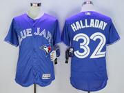 mens majestic toronto blue jays #32 roy halladay blue Flex Base jersey
