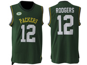 mens nfl Green Bay Packers #12 Aaron Rodgers green tank top jersey