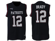 mens nfl New England Patriots #12 Tom Brady blue tank top jersey