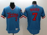 Mens Majestic Minnesota Twins #7 Mauer Blue Flex Base Pullover Jersey