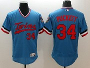 Mens Majestic Minnesota Twins #34 Kirby Puckett Blue Flex Base Pullover Jersey