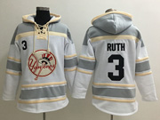 Mens Mlb New York Yankees #3 Babe Ruth White&gray Team Hoodie Jersey