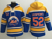 Mens Mlb New York Mets #52 Yoenis Cespedes Blue Team Hoodie Jersey