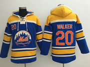Mens Mlb New York Mets #20 Neil Walker Blue Team Hoodie Jersey