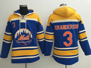 Mens Mlb New York Mets #3 Curtis Granderson Blue Team Hoodie Jersey