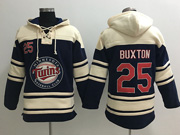 Mens Mlb Minnesota Twins #25 Byron Buxton Blue Team Hoodie Jersey