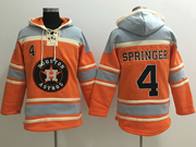 Mens Mlb Houston Astros #4 George Springer Orange Team Hoodie Jersey