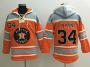Mens Mlb Houston Astros #34 Nolan Ryan Orange Team Hoodie Jersey