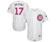Mens Majestic Chicago Cubs #17 Kris Bryant White Stripe 2016 Mother's Day Flex Base Jersey