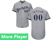 Mens Majestic Milwaukee Brewers Gray Flex Base Current Player Jersey