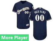 Mens Majestic Milwaukee Brewers Navy Blue Flex Base Current Player Jersey Brewers