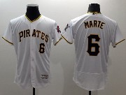 mens majestic pittsburgh pirates #6 starling marte white Flex Base jersey