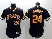 mens majestic pittsburgh pirates #24 barry bonds black Flex Base jersey