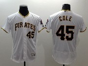 mens majestic pittsburgh pirates #45 gerrit cole white Flex Base jersey