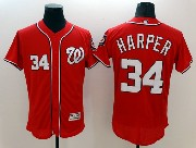 Mens Majestic Washington Nationals #34 Bryce Harper Red Flex Base Jersey