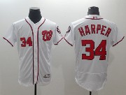 Mens Majestic Washington Nationals #34 Bryce Harper White Flex Base Jersey