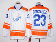 Mens mlb los angeles dodgers #23 adrian gonzalez white long sleeve Jersey