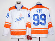 Mens mlb los angeles dodgers #99 hyun-jin ryu white long sleeve Jersey