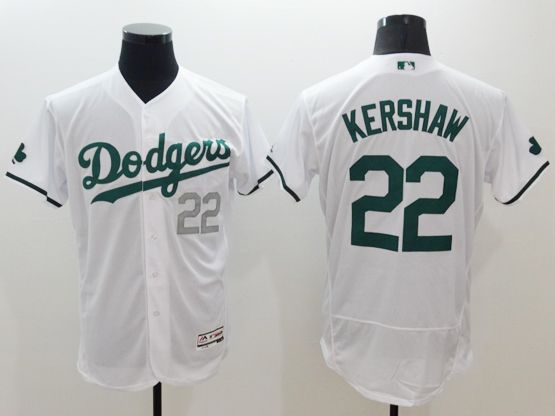 mens majestic los angeles dodgers #22 clayton kershaw white green number Flex Base jersey