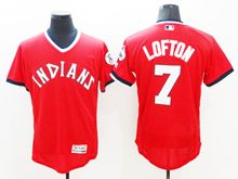 Mens Majestic Cleveland Indians #7 Kenny Lofton Red Pullover Cool Base Jersey