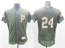 mens majestic pittsburgh pirates #24 barry bonds green fashion 2016 memorial day Flex Base jersey