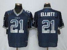 Mens Nfl Dallas Cowboys #21 Ezekiel Elliott Blue Drift Fashion Elite Jerseys