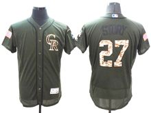 mens majestic colorado rockies #27 trevor story green fashion 2016 memorial day Flex Base jersey