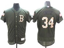 mens majestic boston red sox #34 david ortiz green fashion 2016 memorial day Flex Base jersey