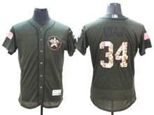 mens majestic houston astros #34 nolan ryan green fashion 2016 memorial day Flex Base jersey