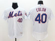 mens majestic new york mets #40 bartolo colon white stripe Flex Base jersey