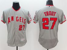 Mens Mlb Los Angeles Angels #27 Mike Trout Gray Flex Base Jersey