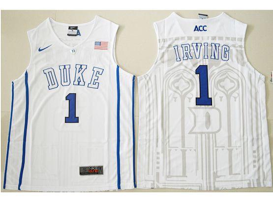 Mens Ncaa Nba Duke Blue Devils #1 Kyrie Irving White Authentic (v Neck) Jersey