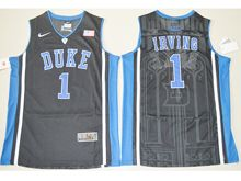 Mens Ncaa Nba Duke Blue Devils #1 Kyrie Irving Black Elite (v Neck) Jersey
