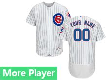 Mens Majestic Chicago Cubs White Stripe Flex Base Current Player Jersey