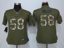 Women  Nfl Denver Broncos #58 Von Miller Green Salute To Service Limited Jersey